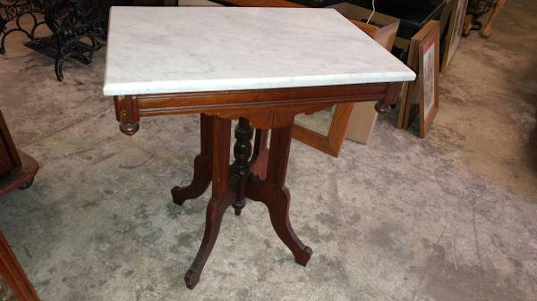 Antique Victorian Marble Top Side Table