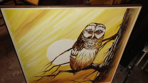 Vintage Retro Owl Oil Painting Large Amp Beautiful So