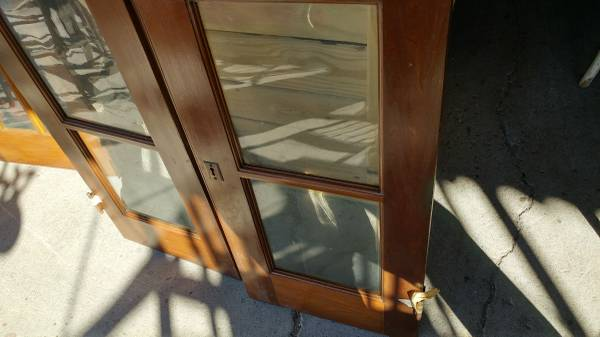 Antique Cabinet Doors Wood Frame Old Wavy Glass Wow Long