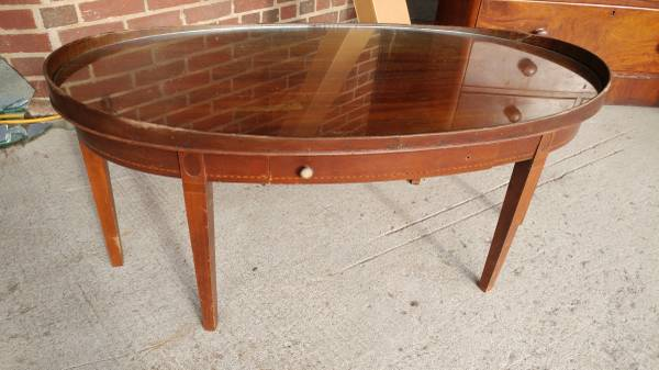Antique Mahogany Oval Coffee Table W Gl Top Mersman Wow
