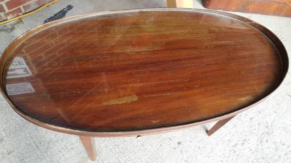 Antique Mahogany Oval Coffee Table W Gl Top Mersman Wow Long Valley Traders