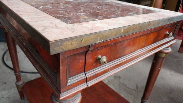 Antique Mahogany Marble Top Side Table Brass Trim Amp 1