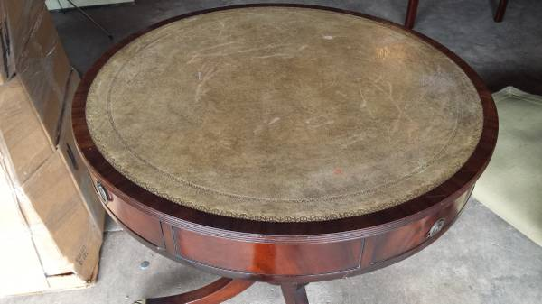 Antique Mahogany Round Leather Top Side Table W 2 Drawers