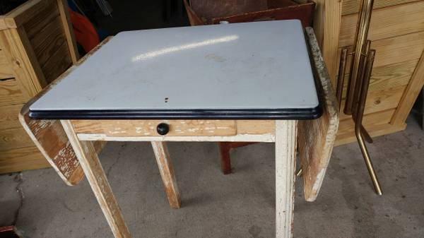 Small Antique Drop Leaf Enamel Top Kitchen Table – So Cool!