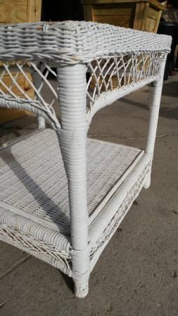 Antique Vintage Small Wicker Side Table White Nice Long