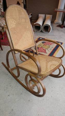 Bent Wood Rocking Chair Vintage With Cane Seat Back Wonderful