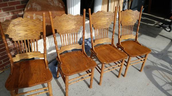 Pressed Back Dining Chairs ~ Antique oak kitchen dining chairs tall pressed back