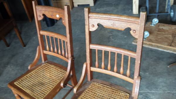 2 Antique Oak Side Chairs / Dining Chairs – Cane Seats – So Nice! – Long  Valley Traders - 2 Antique Oak Side Chairs / Dining Chairs – Cane Seats – So Nice