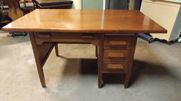 00C0C_fl53TzfAjzN_600x450 - Antique Teachers Desk W/ Walnut Top & Oak Base – Cool Desk! – Long