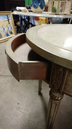 French Provincial Round Side Table Marble Insert