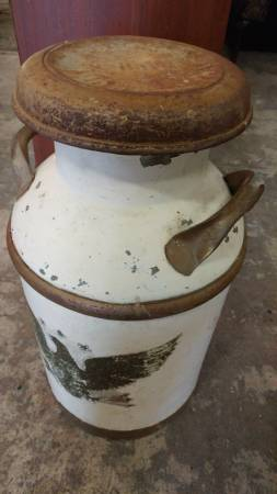 Antique Large Milk Can Painted With American Eagle Very