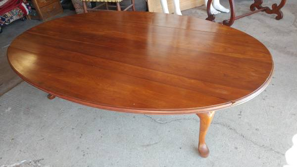 Antique Solid Cherry Drop Leaf Table Long Beautiful