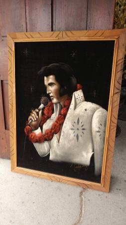 Elvis Presley Large Velvet Painting Framed Early 70 S