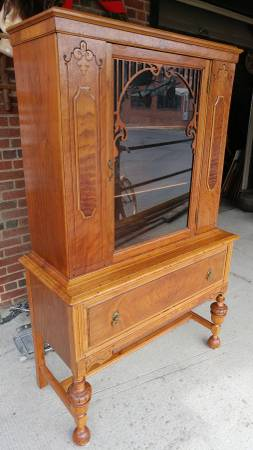 antique 1800's flat front china cabinet – solid walnut