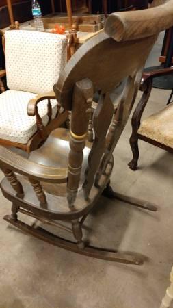 Antique Large Rocking Chair Thick Wood Painted Details