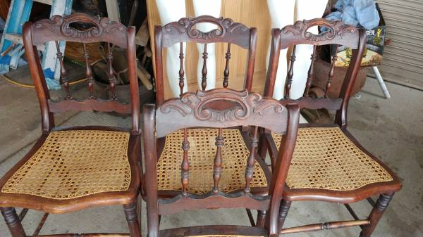 Antique Victorian Dining Chairs U2013 Wicker Seats U2013 Mahogany U2013 Very Nice! U2013  Long Valley Traders