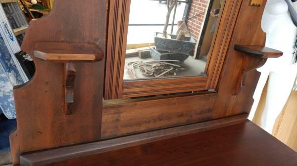Beautiful Large Victorian Walnut Dresser W Mirror 1800