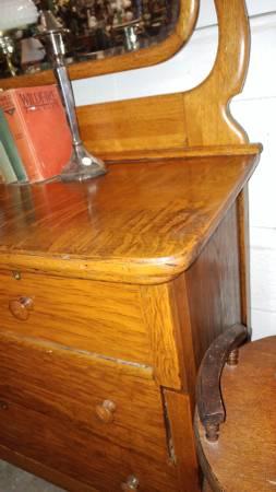 Antique Oak Vanity Dresser Tiger Oak Large Mirror