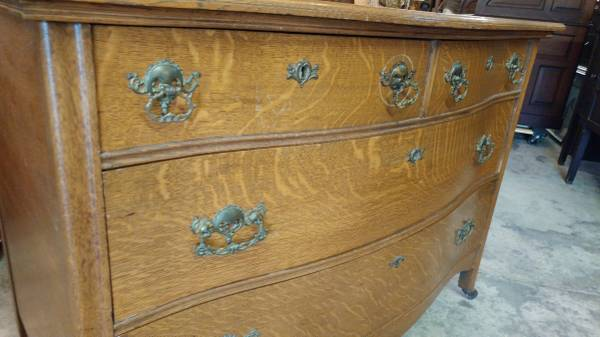 Antique Large Oak Dresser Tiger Quarter Sawn Oak