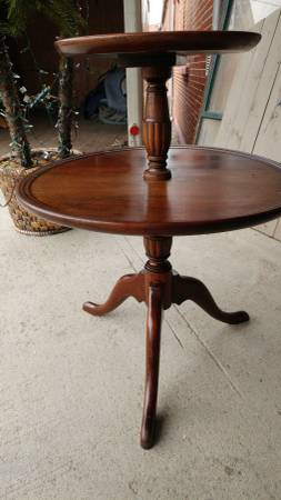 Antique Two Tier Serving Round Side Table Walnut