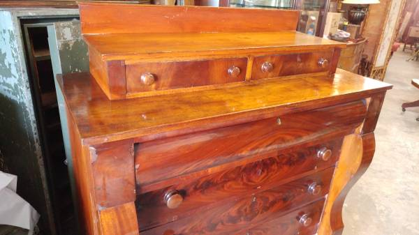 Antique Empire Dresser Chest Flame Mahogany Made In