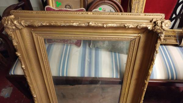 Antique Large Picture Frame – Gilded, Thick & Heavy w/ OLD Glass ...