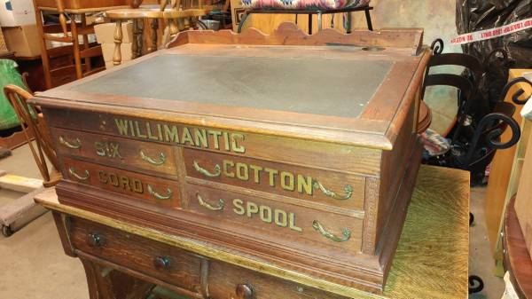 Antique Willimantic Spool Cabinet / Desk 3 Drawer With Top Desk – Long  Valley Traders - Antique Willimantic Spool Cabinet / Desk 3 Drawer With Top Desk