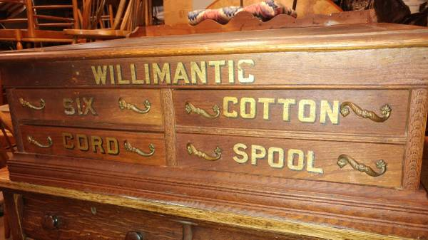 Antique Willimantic Spool Cabinet / Desk 3 Drawer With Top Desk ...