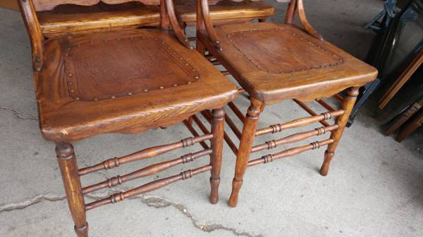 Ordinaire 4 Antique Oak Dining Chairs U2013 Primitive U2013 Carved With Leather Seats
