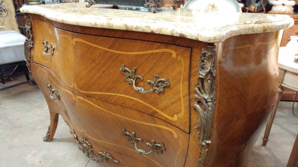 Antique Marble Top Bombay Dresser Chest Beautiful Inlay