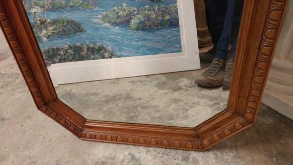 Vintage Oak Wall Mirror Carved Wood And Beveled Glass 00202 Lmmnnt8mb6j 600x450