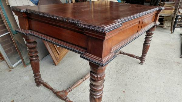 Large Antique Rose Wood Library Desk Table – Heavy Solid – Very Nice! –  Long Valley Traders - Large Antique Rose Wood Library Desk Table – Heavy Solid – Very Nice