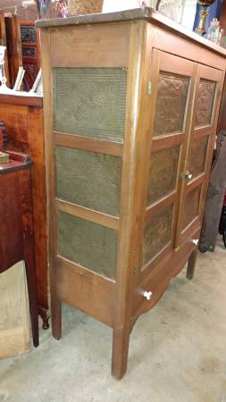 Large Antique Pie Safe Cabinet Cupbord W Lower Drawer