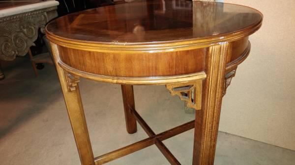 Round Lane Side Table U2013 Lamp Table U2013 Inlay Wood W/ Drawer U2013 Beautiful U2013  Long Valley Traders