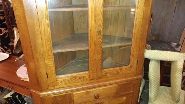 Large Oak Antique Corner Cupboard China Cabinet Old Gl