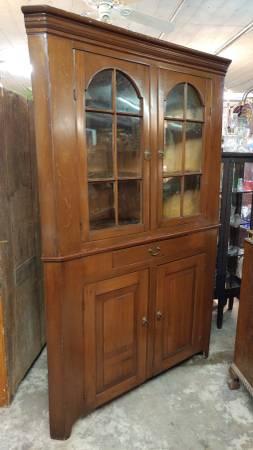 Early Antique Corner China Cabinet / Cupboard U2013 Dark Pine U2013 Beautiful.  00k0k_eUUDGjNgd0X_600x450
