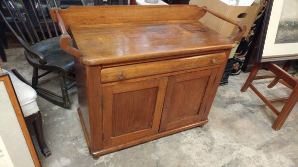 Primitive Antique Wash Stand Long Cabinet Nice Condition