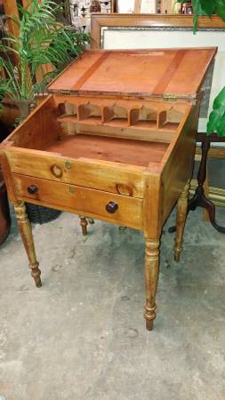 Antique Primitive Plantation Desk Slant Front With