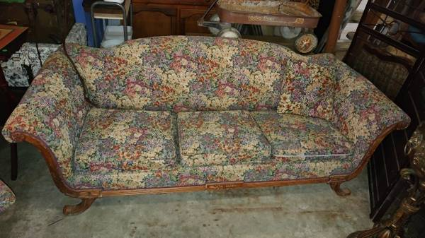 Antique Couch and Chair Set . Duncan Phyfe Style . Beautiful Fabric – Long  Valley Traders - Antique Couch And Chair Set . Duncan Phyfe Style . Beautiful Fabric