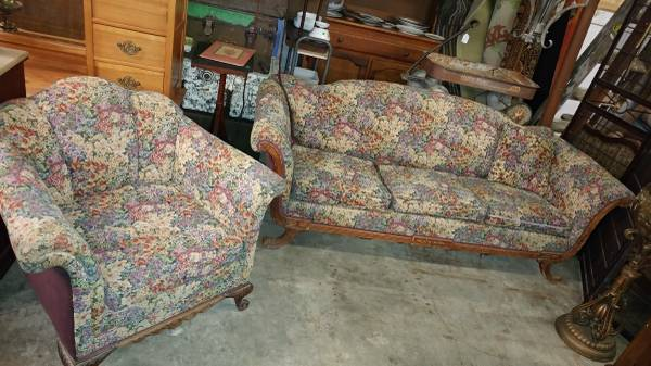 Antique Couch And Chair Set Duncan Phyfe Style Beautiful Fabric 00m0m Jxi8obfh8oe 600x450