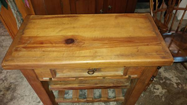 Solid Thick Pine Wine Bar * Very well Made * Heavy Strong ...