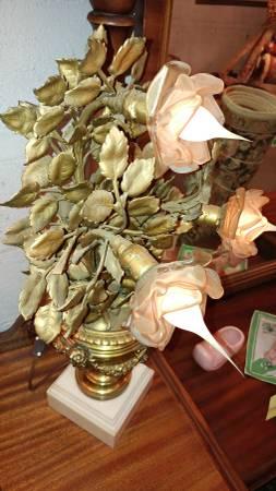 Antique Art Deco Table Lamp Brass Gold Leaf Rose Lights W Marble