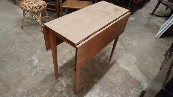 Small Antique Cherry Dining Table Drop Leaf Unfinished