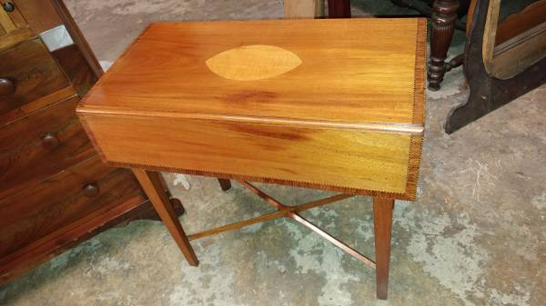 Antique Inlay Mahogany Drop Leaf Side Table Excellent Table Long