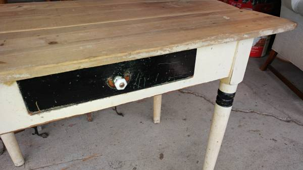 Antique Kitchen Side work table with Drawer – Primitive Board Top