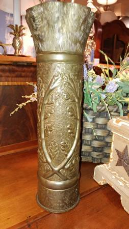 Wwi Trench Art Artillery Shell Brass Vase Hand Crafted