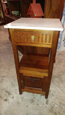 Antique Tall Marble Top Oak Side Table W/ Drawer And Cabinet.  00e0e_aP2GTkekmCC_600x450