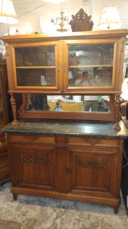 Antique Belgium Carved Cupboard Hutch Marble Top