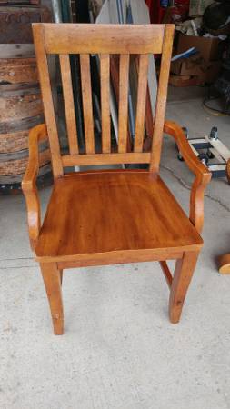 Antique Library Desk Chair Mission Style Solid Heavy Wood