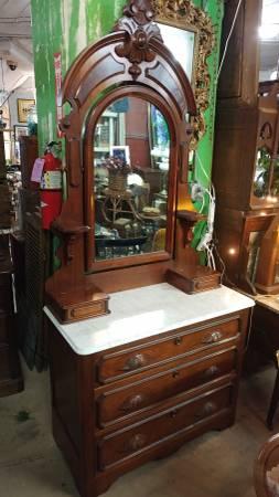 Antique Victorian Walnut Dresser Marble Top With Large Mirror